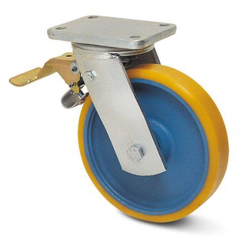 Točak sa kočnicom za teške uslove  100mm sa poliuretan, felna od liveno gvožđe i kuglični ležajevi.Montaža sa gornja ploča
