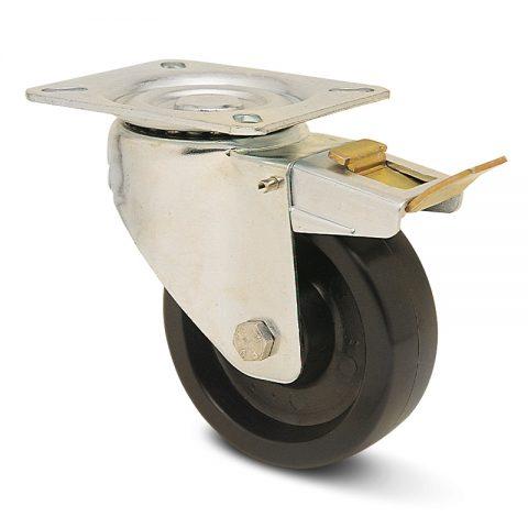 Točak sa kočnicom za pekare  125mm για Smola (280C) osovina kliznog ležaja.Montaža sa gornja ploča