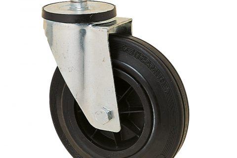 Okretni točak za kolica 150mm sa crna guma, felna od poliamid i valjkasti ležaj.Montaža sa šipka