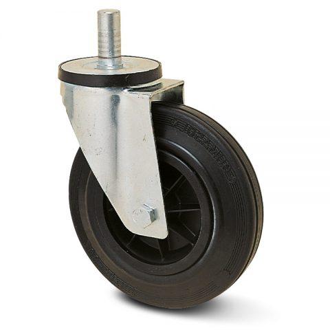 Okretni točak za kolica 125mm sa crna guma, felna od poliamid i osovina kliznog ležaja.Montaža sa šipka