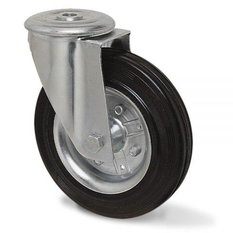 Okretni točak za kolica 150mm sa crna guma,nosač od presovanog čelika  i valjkasti ležaj.Montaža sa otvor - rupa
