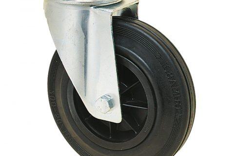 Okretni točak za kolica 150mm sa crna guma, felna od poliamid i valjkasti ležaj.Montaža sa otvor - rupa