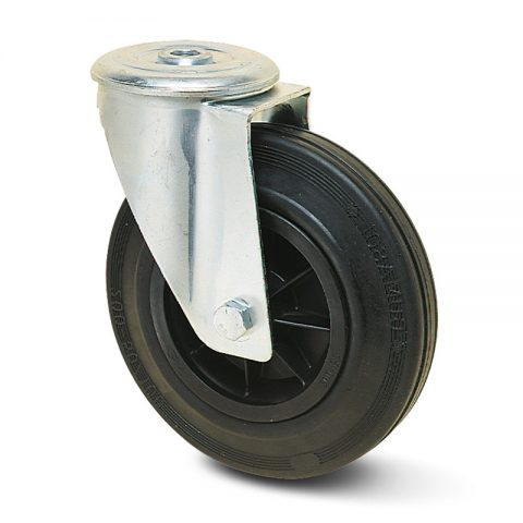 Okretni točak za kolica 200mm sa crna guma, felna od poliamid i osovina kliznog ležaja.Montaža sa otvor - rupa