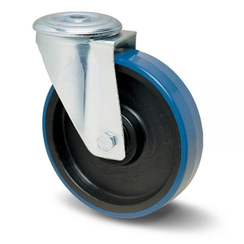 Okretni točak za kolica  80mm sa poliuretan, felna od poliamid i kuglični ležajevi.Montaža sa otvor - rupa