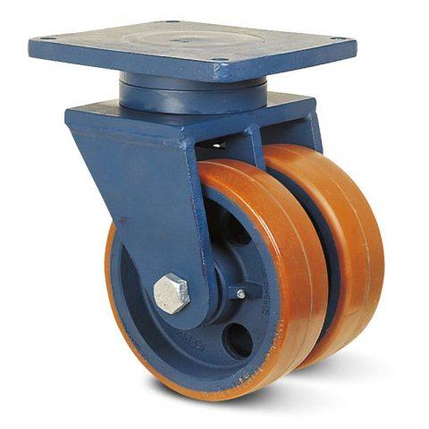 Okretni točak za teške uslove  300mm sa poliuretan, felna od liveno gvožđe i kuglični ležajevi.Montaža sa gornja ploča