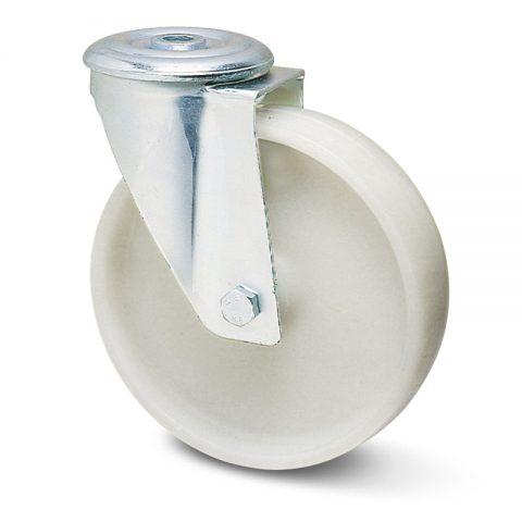 Okretni točak za kolica  150mm sa polipropilen  osovina kliznog ležaja.Montaža sa otvor - rupa