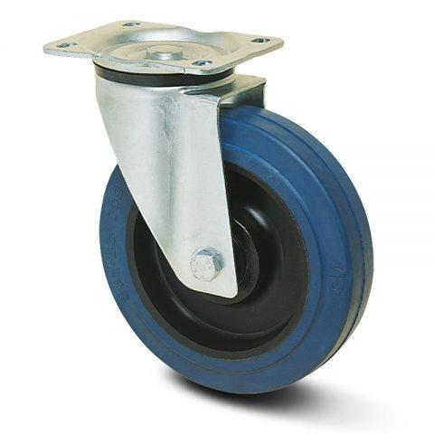 Okretni točak za kolica  125mm sa elastična guma za čiste podloge, felna od poliamid i valjkasti ležaj.Montaža sa gornja ploča