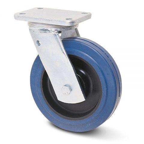 Okretni točak za teške uslove  200mm sa elastična guma za čiste podloge, felna od poliamid i valjkasti ležaj.Montaža sa gornja ploča