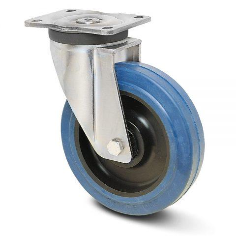 Okretni točak za teške uslove  200mm sa elastična guma za čiste podloge, felna od poliamid i kuglični ležajevi.Montaža sa gornja ploča