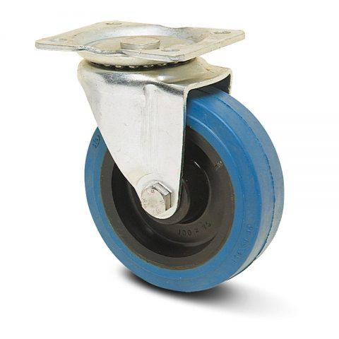 Okretni točak serije Ε  100mm sa elastična guma za čiste podloge, felna od poliamid i kuglični ležajevi.Montaža sa gornja ploča