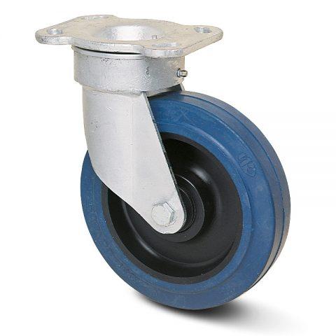 Okretni točak serije G  160mm sa elastična guma za čiste podloge, felna od poliamid i kuglični ležajevi.Montaža sa gornja ploča