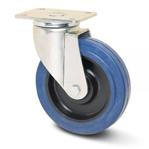 Okretni točak za teške primene  100mm sa elastična guma za čiste podloge, felna od poliamid i valjkasti ležaj.Montaža sa gornja ploča