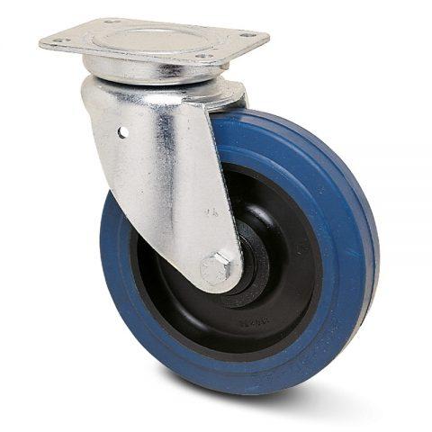 Okretni točak za kolica  200mm sa elastična guma za čiste podloge, felna od poliamid i kuglični ležajevi.Montaža sa gornja ploča