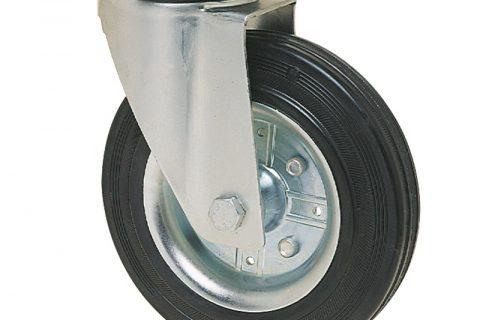 Okretni točak za kolica 150mm sa crna guma,nosač od presovanog čelika  i valjkasti ležaj.Montaža sa gornja ploča