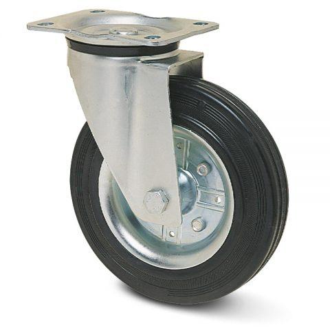 Okretni točak za kolica 100mm sa crna guma,nosač od presovanog čelika  i valjkasti ležaj.Montaža sa gornja ploča