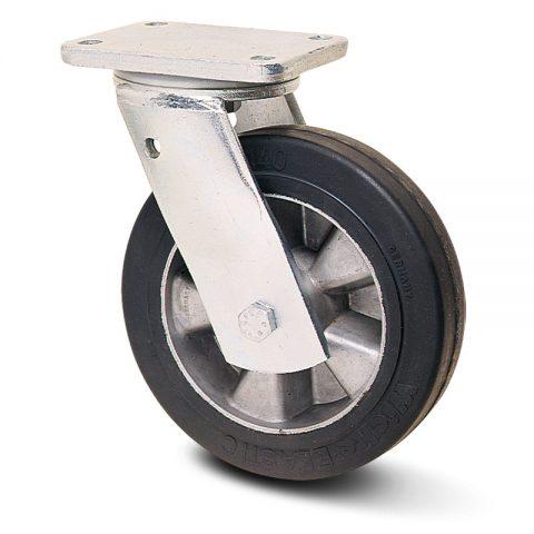 Okretni točak za teške uslove  300mm sa Elastična crna guma , felna od aluminijum i kuglični ležajevi.Montaža sa gornja ploča