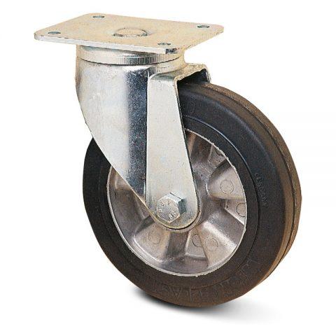 Okretni točak za teške primene  200mm sa Elastična crna guma , felna od aluminijum i kuglični ležajevi.Montaža sa gornja ploča