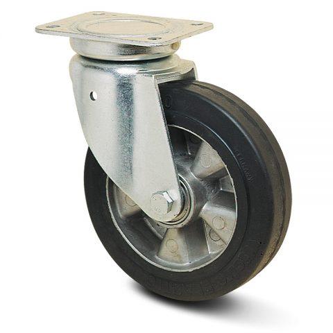 Okretni točak za kolica  230mm sa Elastična crna guma , felna od aluminijum i kuglični ležajevi.Montaža sa gornja ploča
