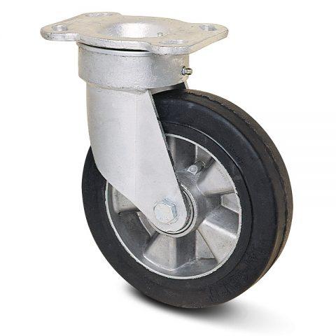 Okretni točak za kolica  125mm sa Elastična crna guma , felna od aluminijum i kuglični ležajevi.Montaža sa gornja ploča