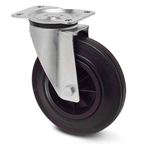 Okretni točak za kolica 125mm sa crna guma, felna od poliamid i osovina kliznog ležaja.Montaža sa gornja ploča