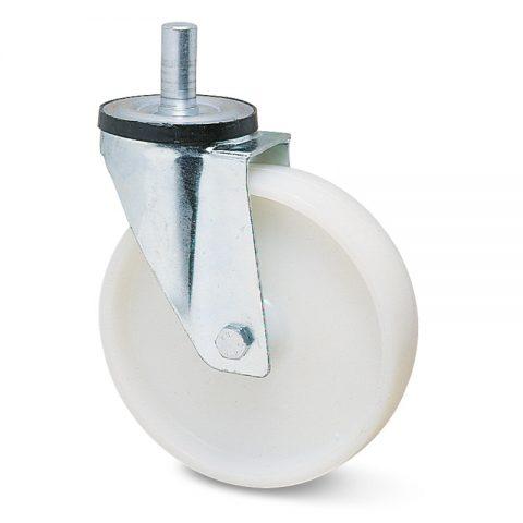 Okretni točak za kolica  200mm sa poliamid tip 6 valjkasti ležaj.Montaža sa šipka