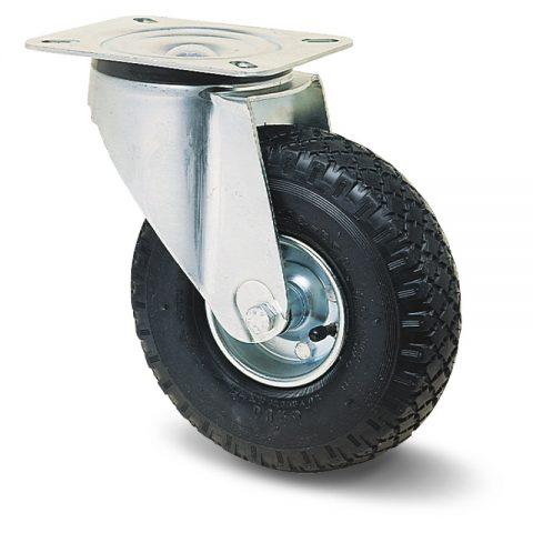 Okretni točak za kolica  200mm sa pneumatska crna guma sa nosač od presovanog čelika  i valjkasti ležaj.Montaža sa gornja ploča