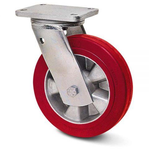 Okretni točak za teške uslove  180mm sa elastični poliuretan, felna od aluminijum i kuglični ležajevi.Montaža sa gornja ploča