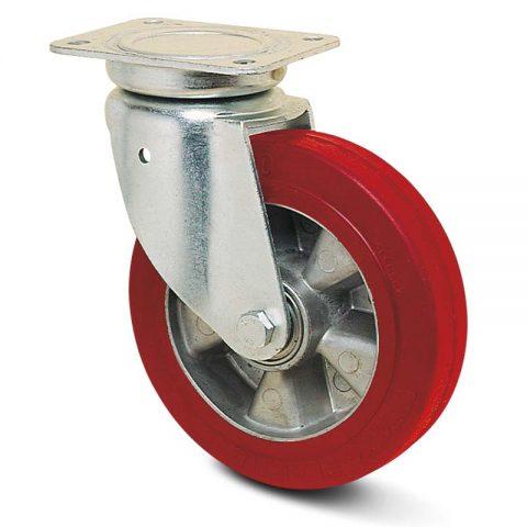 Okretni točak za kolica  100mm sa elastični poliuretan, felna od aluminijum i kuglični ležajevi.Montaža sa gornja ploča
