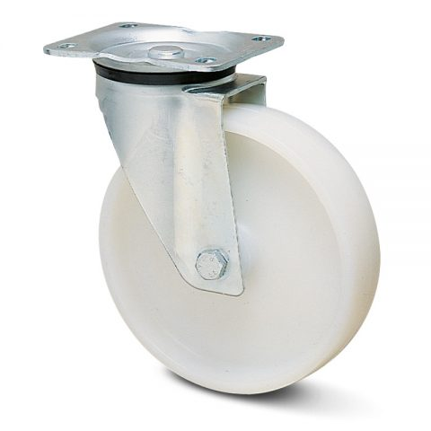 Okretni točak za kolica  125mm sa poliamid tip 6 valjkasti ležaj.Montaža sa gornja ploča