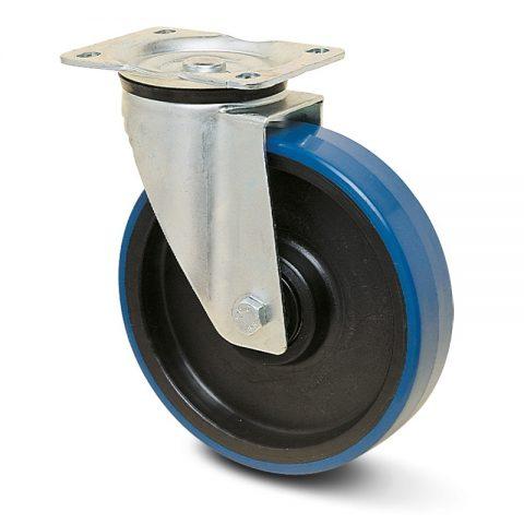 Okretni točak za kolica  125mm sa poliuretan, felna od poliamid i valjkasti ležaj.Montaža sa gornja ploča