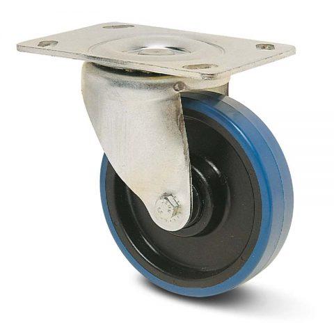 Okretni točak za kolica  150mm sa poliuretan, felna od poliamid i osovina kliznog ležaja.Montaža sa gornja ploča