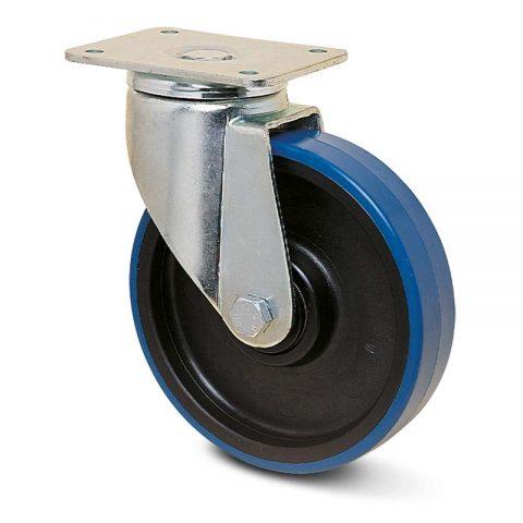 Okretni točak za teške primene  125mm sa poliuretan, felna od poliamid i osovina kliznog ležaja.Montaža sa gornja ploča