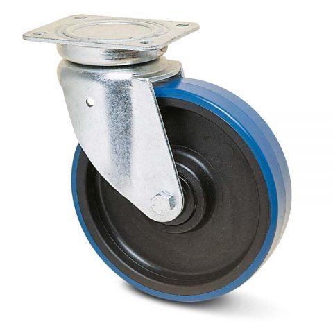 Okretni točak za kolica  175mm sa poliuretan, felna od poliamid i kuglični ležajevi.Montaža sa gornja ploča