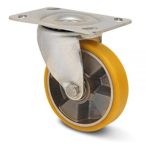 Okretni točak za kolica  100mm sa poliuretan, felna od aluminijum i kuglični ležajevi.Montaža sa gornja ploča