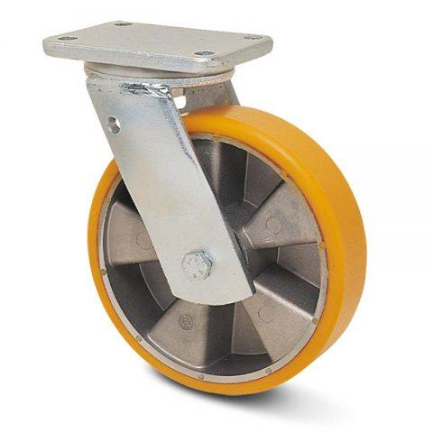 Okretni točak za teške uslove  125mm sa poliuretan, felna od aluminijum i kuglični ležajevi.Montaža sa gornja ploča
