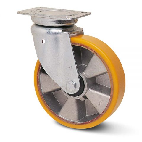 Okretni točak za kolica  150mm sa poliuretan, felna od aluminijum i kuglični ležajevi.Montaža sa gornja ploča