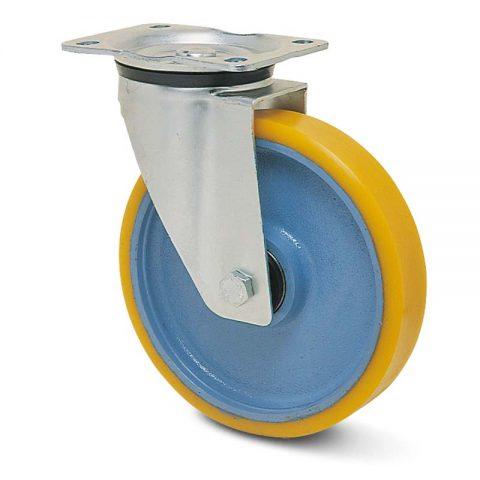 Okretni točak za kolica  125mm sa poliuretan, felna od liveno gvožđe i kuglični ležajevi.Montaža sa gornja ploča