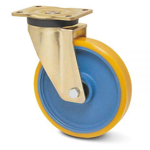 Okretni točak za teške uslove  125mm sa poliuretan, felna od liveno gvožđe i kuglični ležajevi.Montaža sa gornja ploča