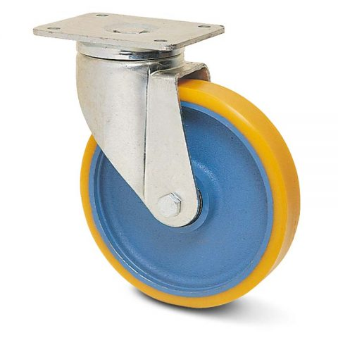 Okretni točak za teške primene  100mm sa poliuretan, felna od liveno gvožđe i kuglični ležajevi.Montaža sa gornja ploča