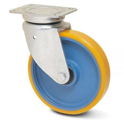 Okretni točak za kolica  180mm sa poliuretan, felna od liveno gvožđe i kuglični ležajevi.Montaža sa gornja ploča