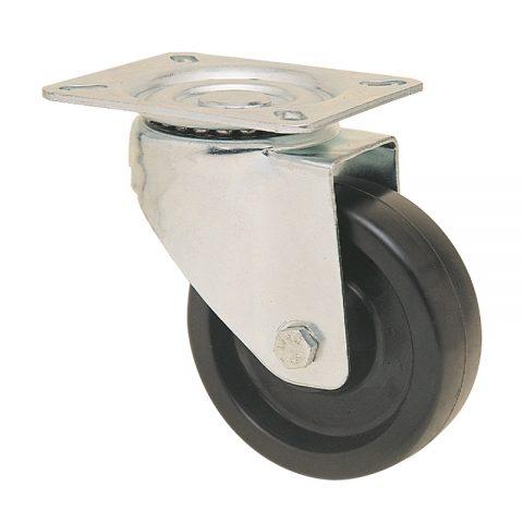 Okretni točak za kolica  100mm για Smola (280C) osovina kliznog ležaja.Montaža sa gornja ploča