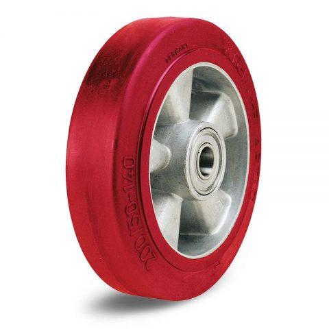 Točak  125mm od elastični poliuretan sa felna od aluminijum i kuglični ležajevi