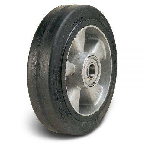 Točak  100mm od Elastična crna guma  sa felna od aluminijum i kuglični ležajevi
