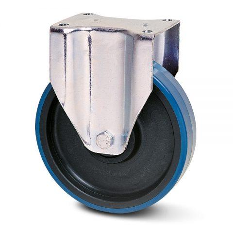 INOX fiksni točak za kolica  150mm sa poliuretan, felna od poliamid i osovina kliznog ležaja.Montaža sa gornja ploča