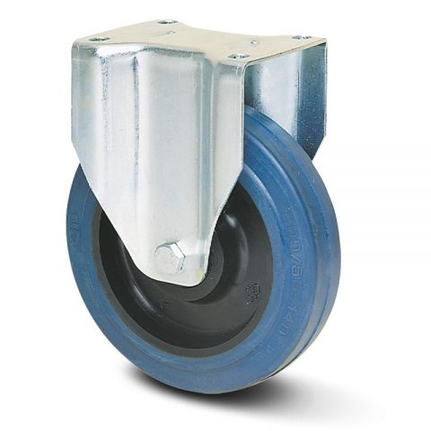 Fiksni točak za kolica  125mm sa elastična guma za čiste podloge, felna od poliamid i valjkasti ležaj.Montaža sa gornja ploča