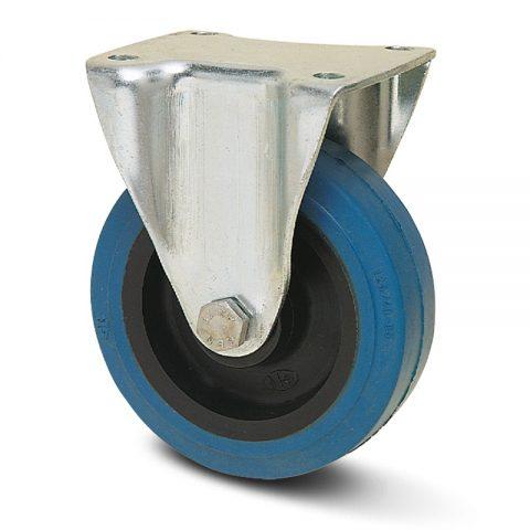 Fiksni točak serije Ε  100mm sa elastična guma za čiste podloge, felna od poliamid i kuglični ležajevi.Montaža sa gornja ploča