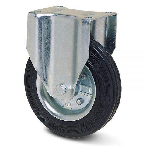 Fiksni točak za kolica 80mm sa crna guma,nosač od presovanog čelika  i valjkasti ležaj.Montaža sa gornja ploča