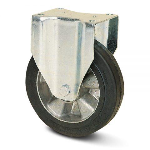 Fiksni točak za kolica  230mm sa Elastična crna guma , felna od aluminijum i kuglični ležajevi.Montaža sa gornja ploča