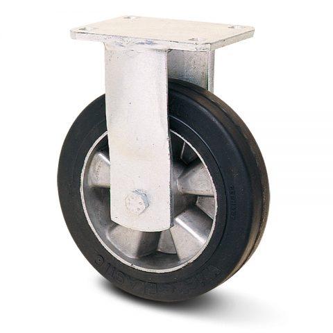 Fiksni točak za teške uslove  300mm sa Elastična crna guma , felna od aluminijum i kuglični ležajevi.Montaža sa gornja ploča