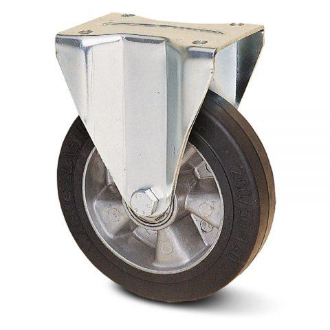 Fiksni točak za teške primene  200mm sa Elastična crna guma , felna od aluminijum i kuglični ležajevi.Montaža sa gornja ploča